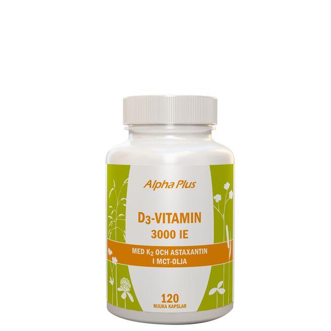 D3-vitamin 3000 IE + K2, 120 kapslar