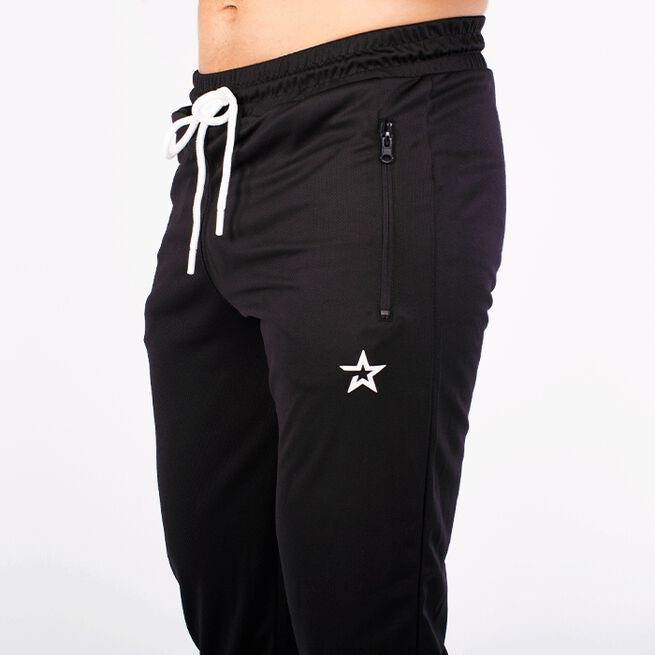STAR TAPERED MESH PANTS, BLACK
