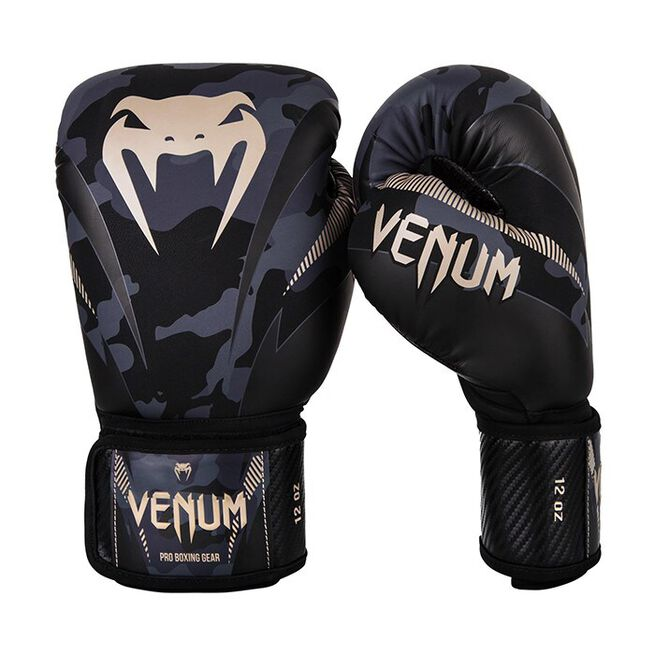 Venum Impact Boxing Gloves, Dark Camo/Sand, 12 oz