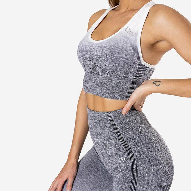 Ombre Seamless Sports Bra, Grey, L
