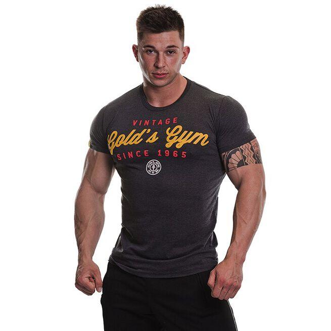 Gold's Gym Vintage Printed T-shirt, Charcoal Marl, M
