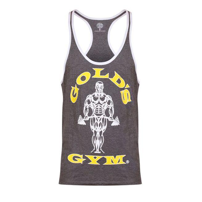 Golds Gym Muscle Joe Contrast String Vest, Grey/White, M
