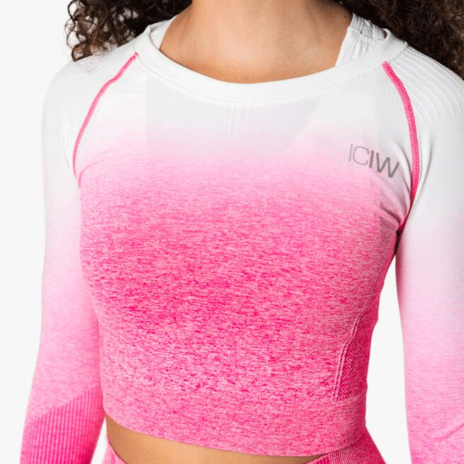 ICIW Ombre Seamless L/S Crop Top, Perfection Pink