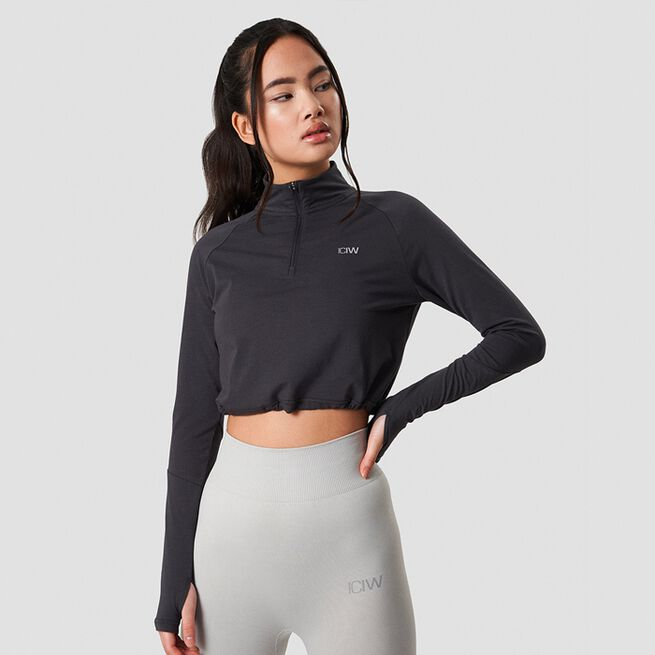 ICANIWILL Define Cropped 1/4 Zip Adjustable Graphite