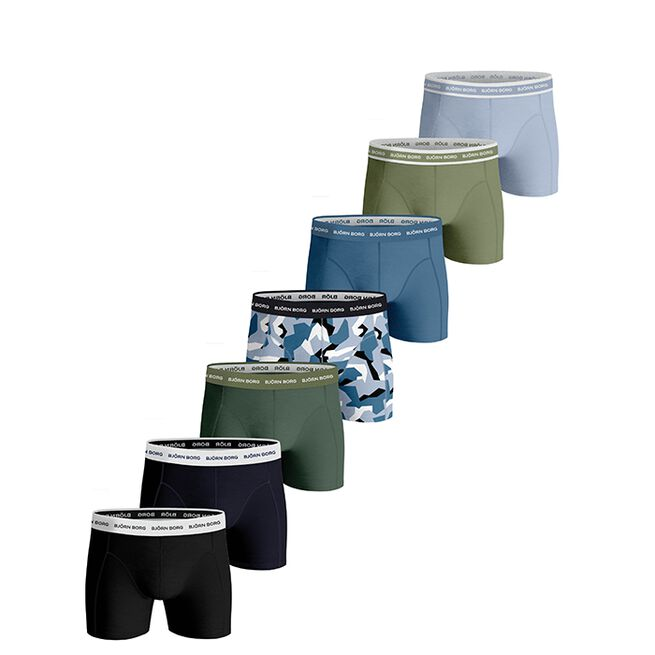 Björn Borg 7-Pack BB Nordic Camo Sammy Shorts Skyway