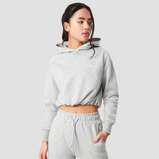 ICANIWILL Adjustable Cropped Hoodie Light Grey