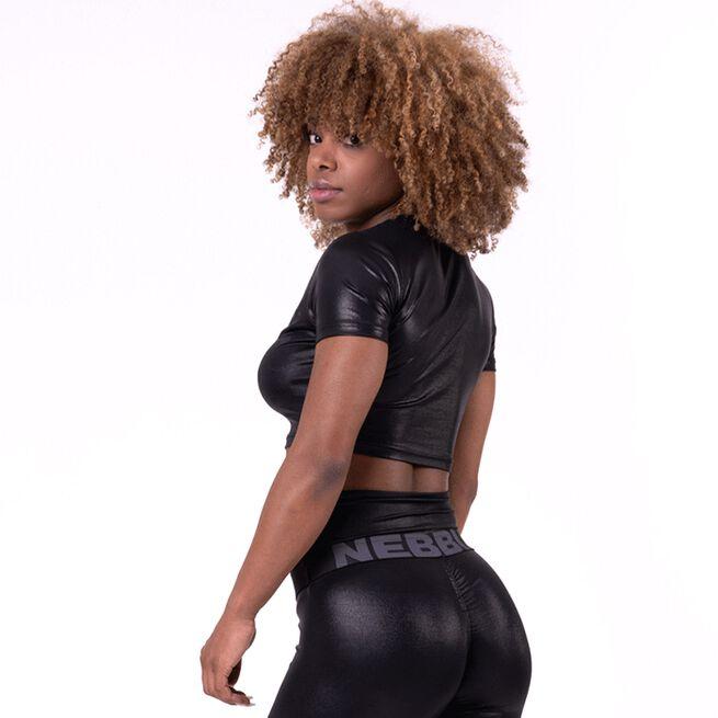 NEBBIA Glossy Crop Top, Black