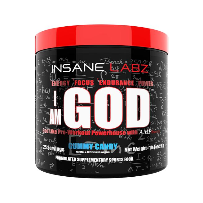 I am GOD Pre-Workout, 25 servings, Gummy Candy