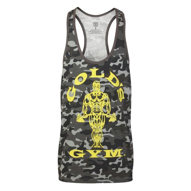 Golds Gym Muscle Joe Camo String Vest, Black/Camo, S