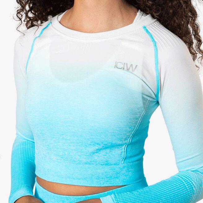 ICIW Ombre Seamless L/S Crop Top, Ocean Blue