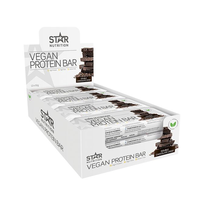 12 x Vegan Protein bar, 50 g, Double chocolate crisp - Kort Datum