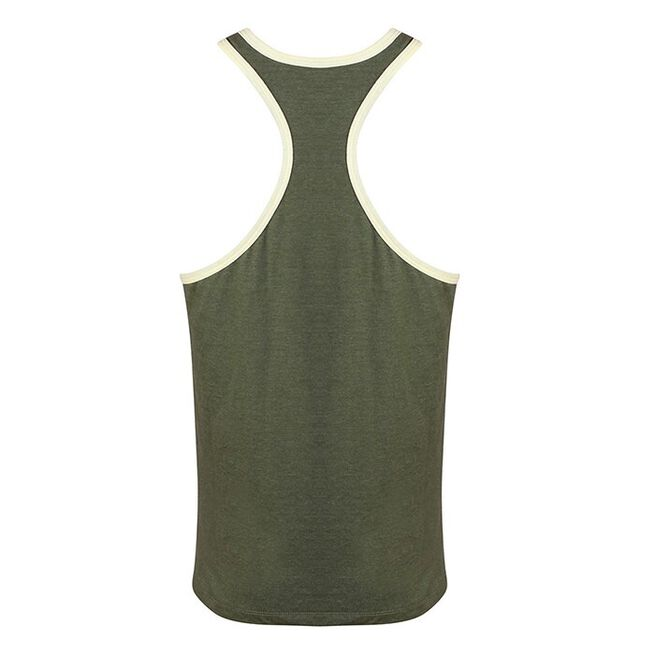 Golds Gym Muscle Joe Contrast String Vest, Army/White, S