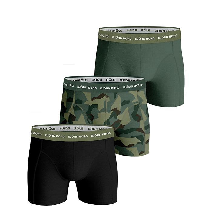 3-Pack BB Nordic Camo Sammy Shorts, Duck Green