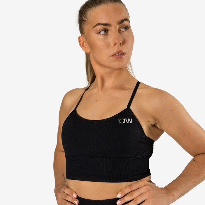 Queen Mesh Sport Bra, Solid Black