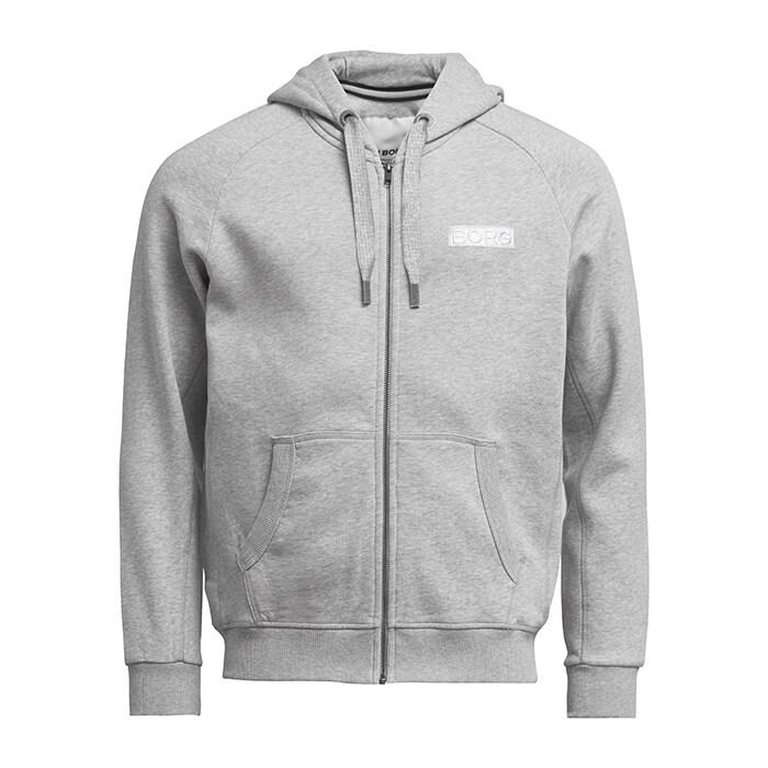 Borg Sport Zip Hood, Light Grey Melange