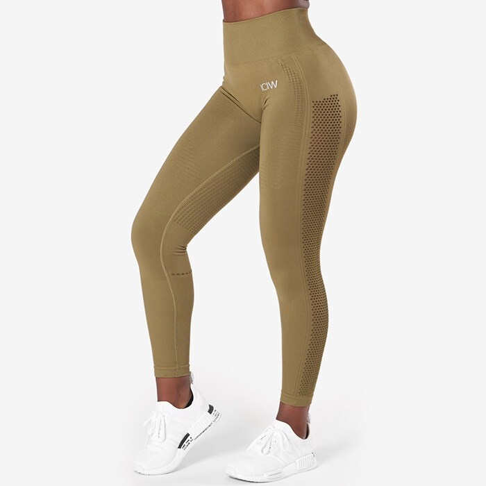 Dynamic Seamless 7/8 Tights, Khaki Green