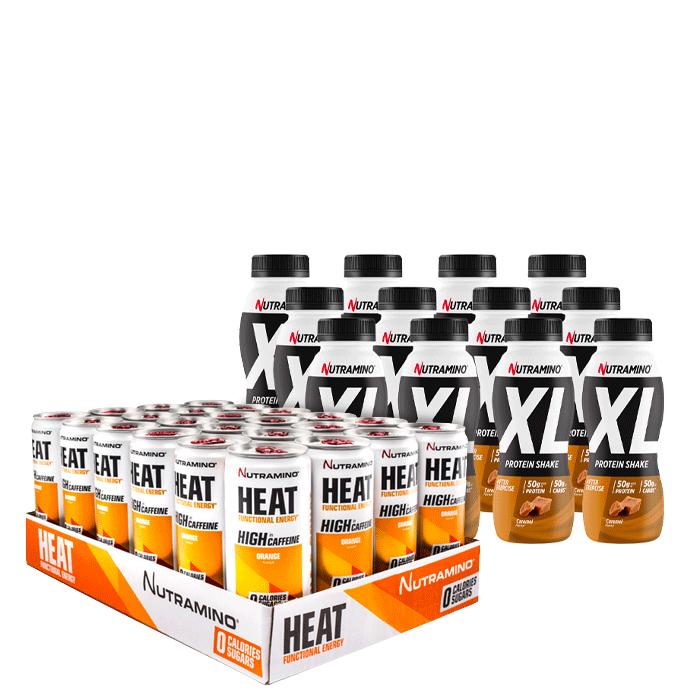 24 x Nutramino HEAT, 330 ml + 12 x XL Proteinshake Caramel