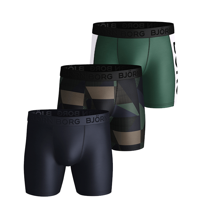 3-Pack Performance Shorts BB Textured Block, Duck Green