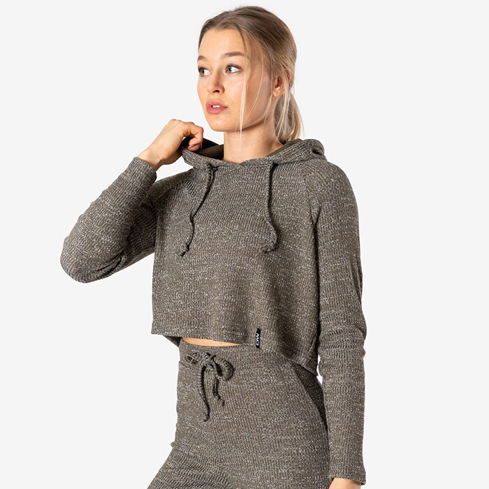 Slounge Cropped Hoodie, Army Green