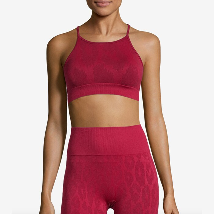 Seamless Leo Strap Top, Moving Red