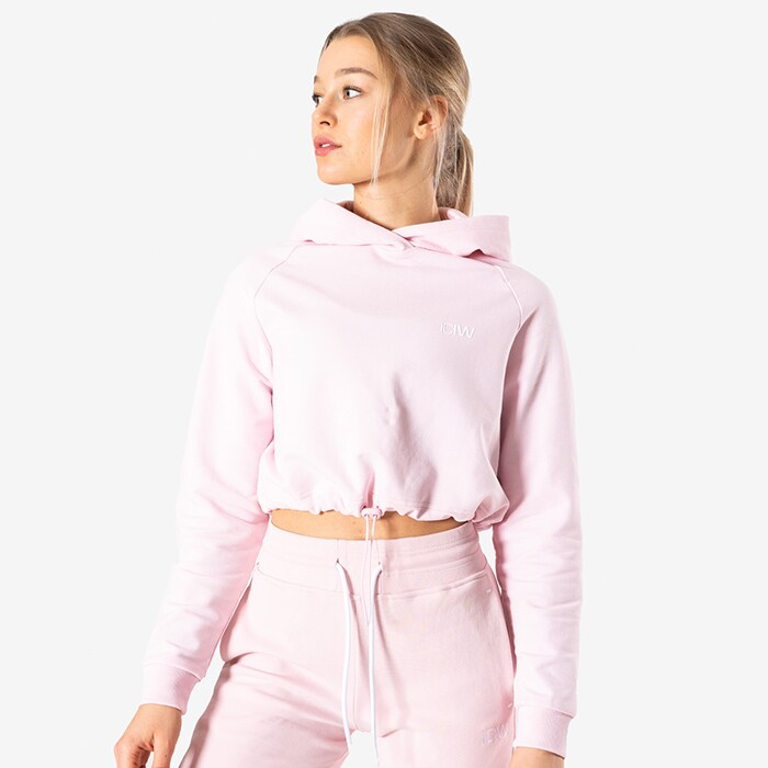 Adjustable Cropped Hoodie, Dusty Pink