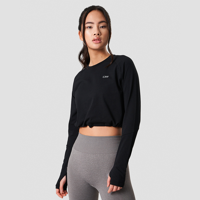 Define Cropped Adjustable Long Sleeve, Black