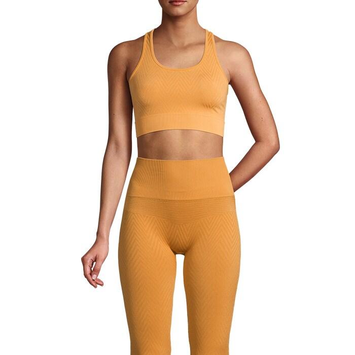 Seamless Chevron Sports Top, Golden Yellow