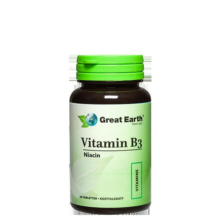 Vitamin B3 Niacin, 60 tabletter