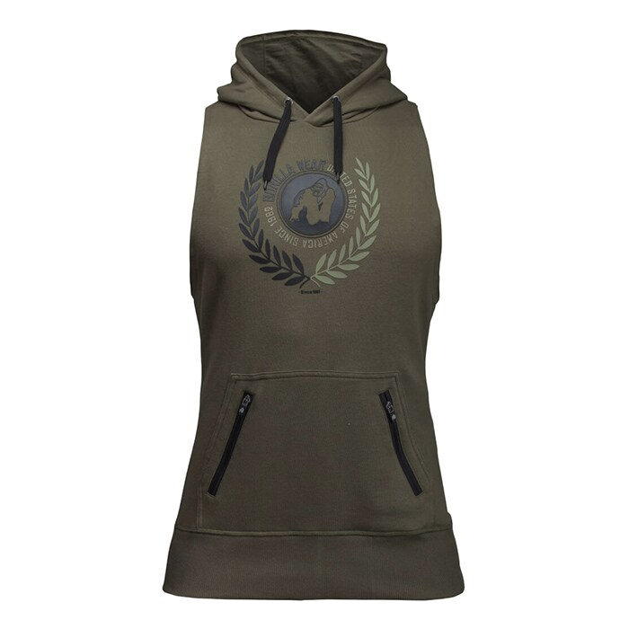 Manti Sleeveless Hoodie, Army Green