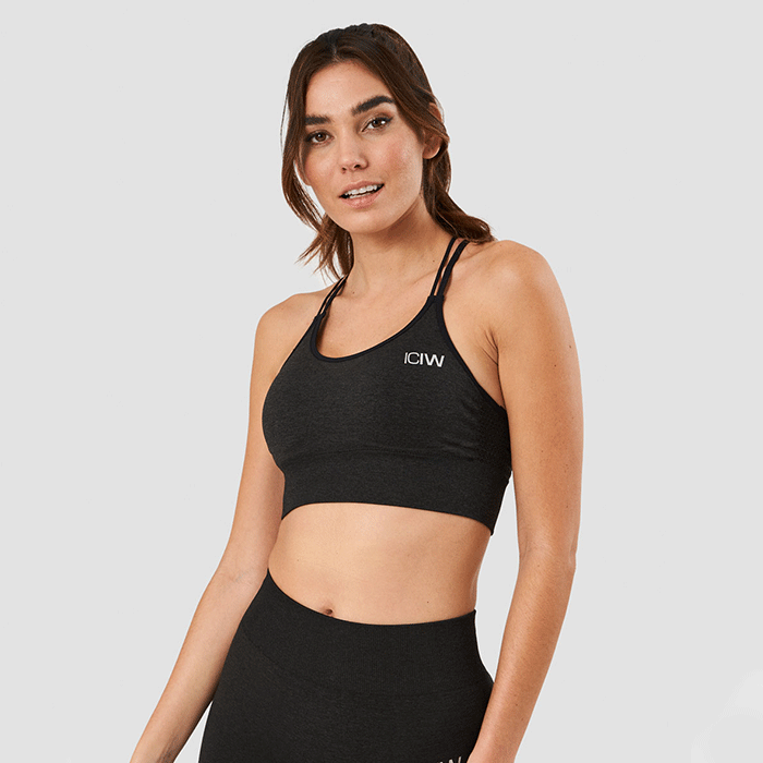 Evolution Seamless Sports Bra, Graphite Melange