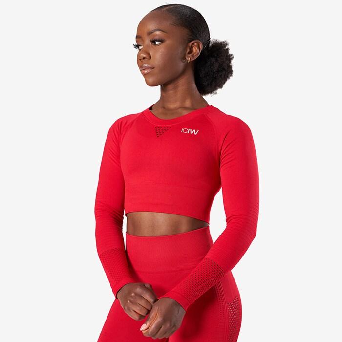 Dynamic Seamless Long Sleeve Crop Top, Deep Red