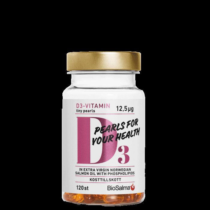 D3-vitamin Tiny Pearls, 120 kapslar