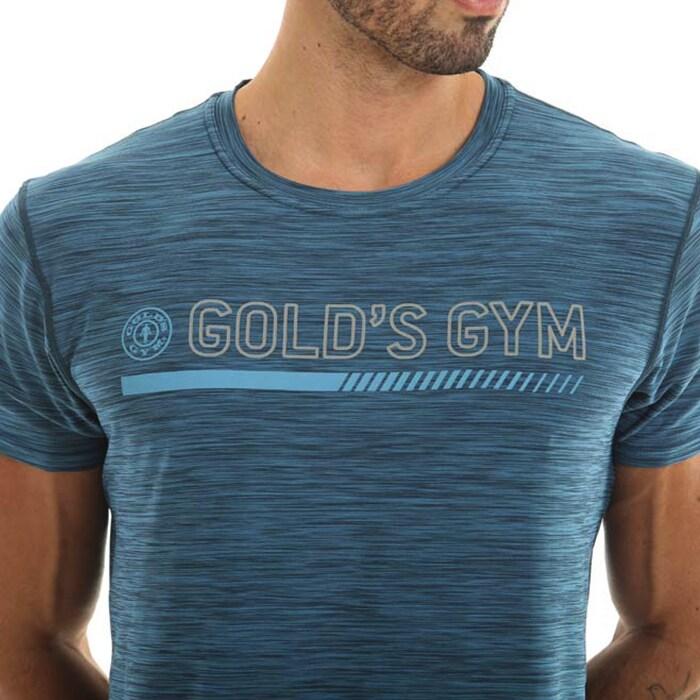Golds Gym Crew Neck Performance Tee, Blue Marl
