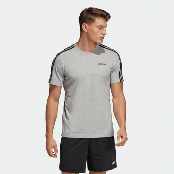 Adidas Essential 3 Stripe Tee, Grey