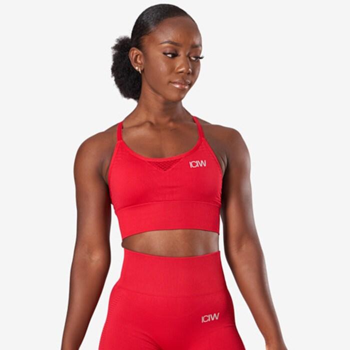 Dynamic Seamless Sports Bra, Deep Red