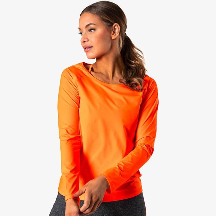 Contrast Long Sleeve, Neon Orange