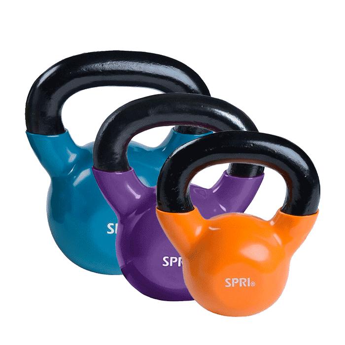 3 x SPRI Kettlebell, 3,6 + 6,8 + 9,1 kg
