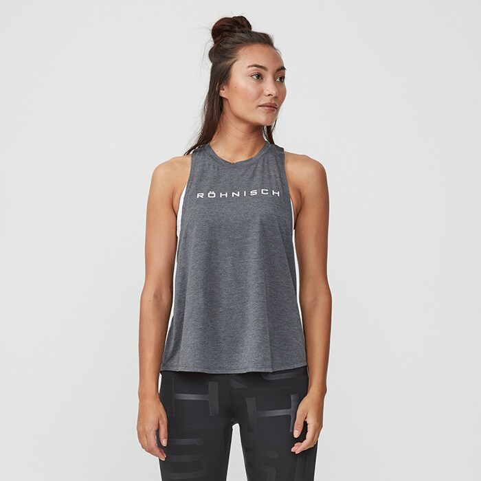 Loose Twist Singlet, Dark Grey Melange