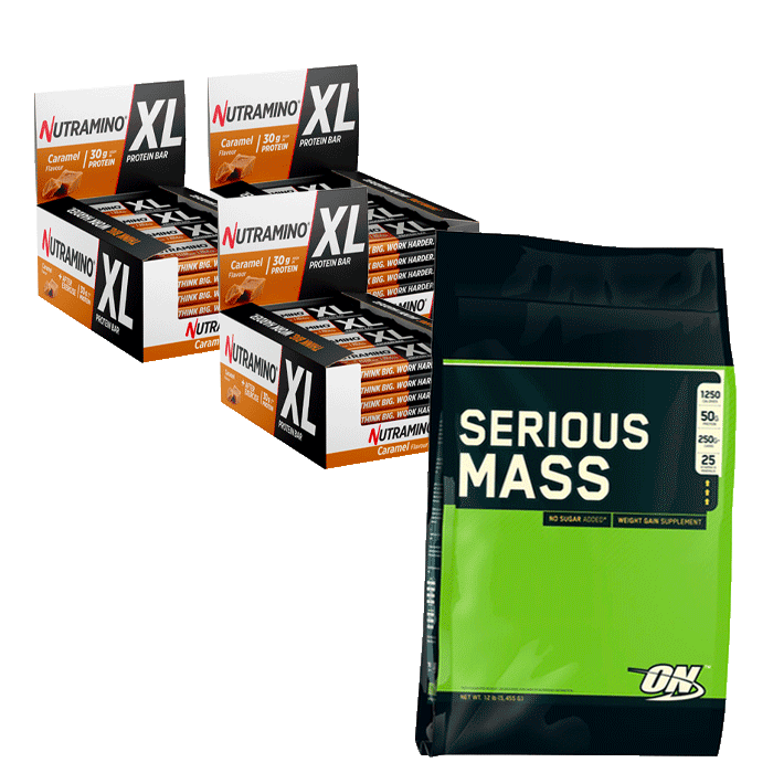 Nutramino XL Protein bars + Optimum Serious Mass 5455 g for free