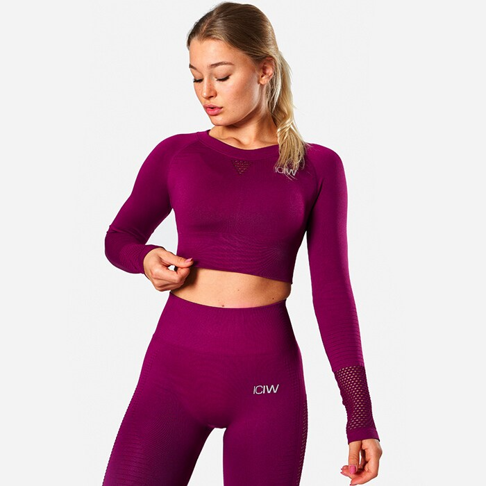 ICIW Dynamic Seamless Long Sleeve Crop Top, Mulberry