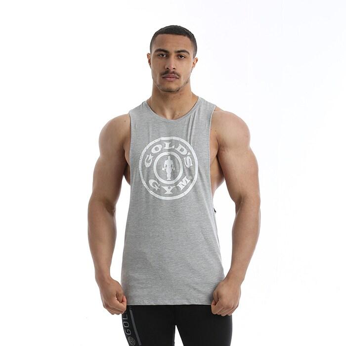 Golds Gym Drop Armhole Vest, Grey Melange