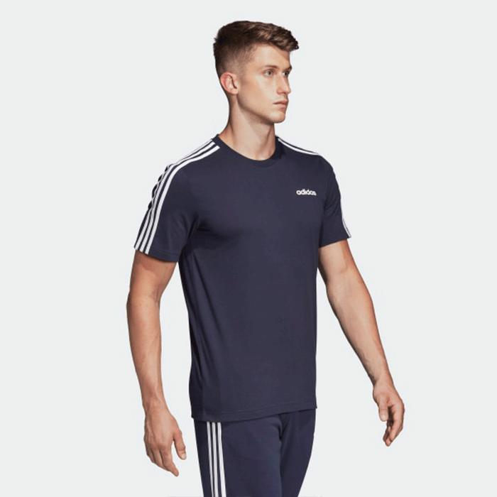 Adidas Essential 3 Stripe Tee, Black