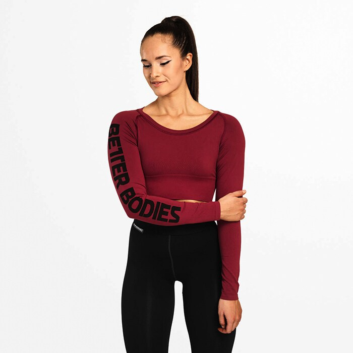 Bowery Cropped LS, Sangria Red