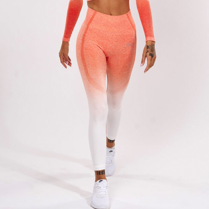 ICIW Ombre 7/8 Seamless Tights, Fire Orange