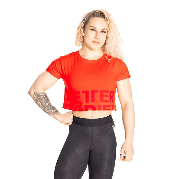 Astoria Cropped Tee, Sunset Red
